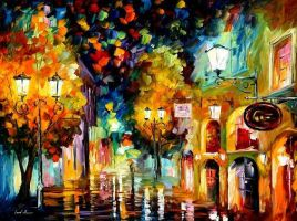 NIGHT INVITATION - oil painting by Afremov by Leonidafremov