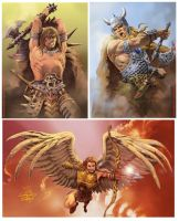 El Angel and Warriors by elshazam