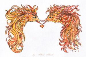 Autumnal dragons - ties of love by AlviaAlcedo