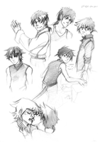 Sketches03: Ton, Nori and Toru by Anyarr