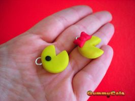 Pacman and Mrs Pacman charms by Christine-E