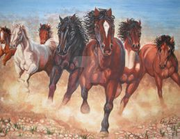 Wild Horses Watercolor by ericdeancoleman