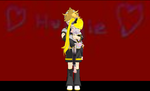 Huggie ~Len and Chibi Append Neru~ by EmeraldTahWolf