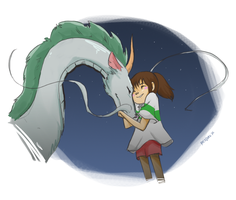 [Spirited Away] Chihiro and Haku by vanipy05