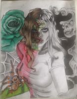 My zombie chick half colour half black and white by Artistalways