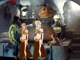 Jabba with Elsa and Anna by darthraner83