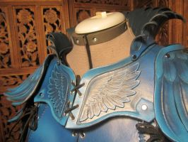 Women's Leather Armor, detail- Blue Jay by SavagePunkStudio
