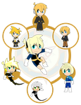 Assorted Chibis - AU Hexafusion 8 by Dragon-FangX