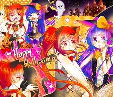Nyan and Aoi Halloween by enzouke