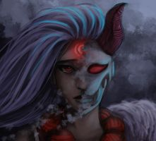 Behind The Demon Mask - Blood Moon Diana by ItsHorrible