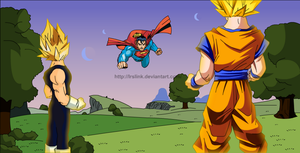 Goku e Vegeta x Superman by lrslink