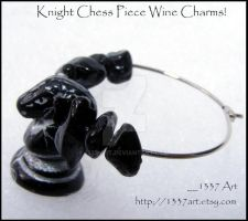 Knight Chess Piece Wine Charms by 1337-Art