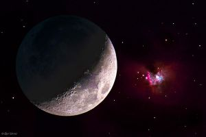 Moon and orion nebula by Rapierr