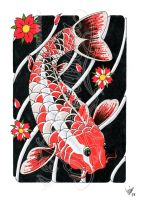 Koi and flowers 1 -coloured- by dfmurcia