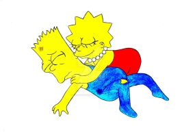 Lisa hugs Bart by Shagggy1987