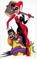 BATGIRL VS HARLEY QUINN Paints by BowTow