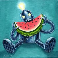 Robot and Watermelon by AlanaMcCarthyArt
