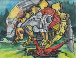 Grimlock and Snarl VS Momma by Dinobots-Club