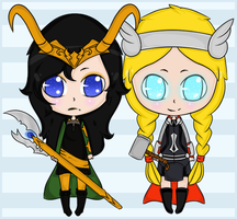 Lady Loki and Lady Thor by Sports3388