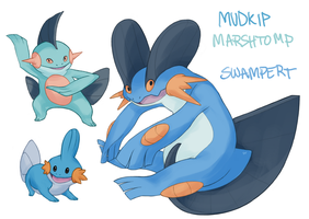 Mudkip Marshtomp Swampert by Aphose