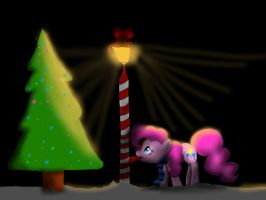 Pinkie Pie stuck to a pole by Colorpaletpony