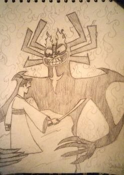 Jack Vs Aku Sketch by WolvenKnightmare