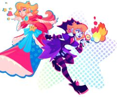 Princess Peach and Shadowqueen by nicholaskole