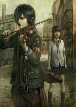 Violinist and schoolgirl by FeiGiap