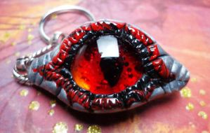 Red and Black Dragon Eye Keychain by RaPVVNzel