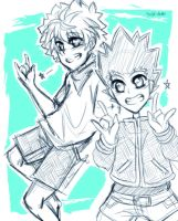 [Doodle] Killua and Gon by Nadi-Chan