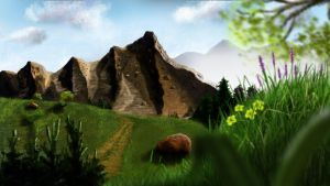 painted Wallpaper - Mountains (Berge) by dasflon