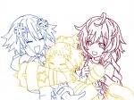 Neptune, Peashy, and Plutia color outline by Maholove575