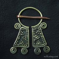 Bronze Mordvinian cloak pin by Sulislaw