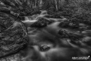 The Boulder Filled River BW by mjohanson
