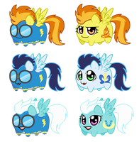 Potato chibi Ponies: Wonder Bolts by linamomoko