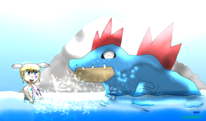 Feraligatr and Lucemon7: Water fight by JackFrost-LCDA