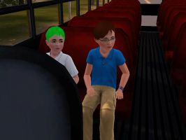 Young Cosmo and Engie in the school BUS by C-Spah049