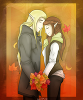 Autumn Love: Thranduil and Siofra by BajecznaMirra