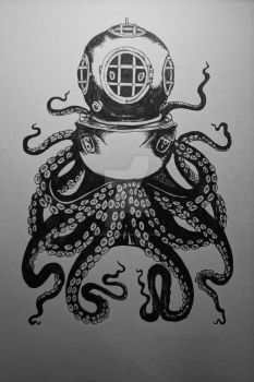 Octopus with divers helmet [full] by Tarin-Moore