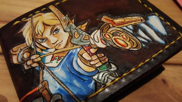 Link Breath of the wild, leather wallet close up by Bubblypies