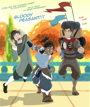 Korra and Mako and Peasant by Trotsworth