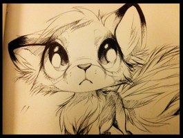 Chibi Fox - biro drawing by Affanita