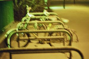 bicycles in snow by pejubo