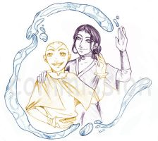 Aang and Katara - commission by Wyv-Kate