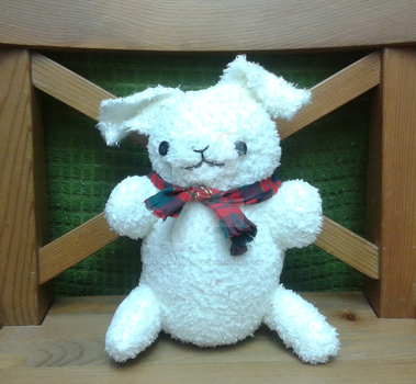 CUTE HANDMADE PLUSH - White Bunny With Scarf by PoppetPanda