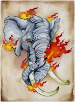 Fire Elephant by JoshDixArt