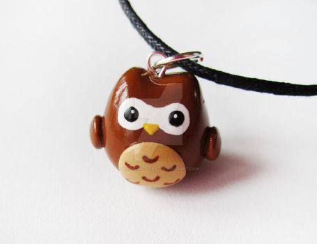 Brown Owl Charm Necklace by mAd-ArIsToCrAt