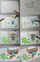 Dragon and Owl work process by Dragons-Garden