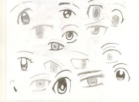 Some Female anime eyes by emberinflames