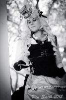 Steampunk Alice Black and White 1 by NoFlutter